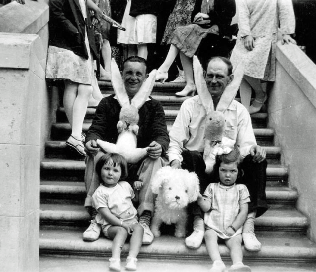 """Len, Daddy & friends at Douglas, I.O.M. Ain't they sweet! 1928""  Mums annotation on back of photo"