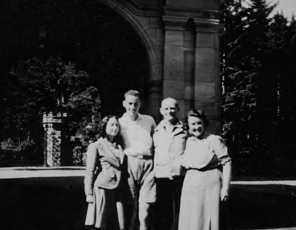 Joan Brandley, Bruce Bryers, Dad & Mum.  Carbisdale Castle.  No date.
